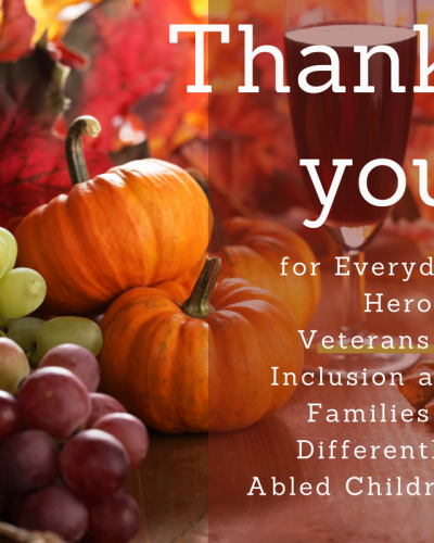 Thank you for Everyday Heroes, Veterans of Inclusion and Families of Differently-Abled Children